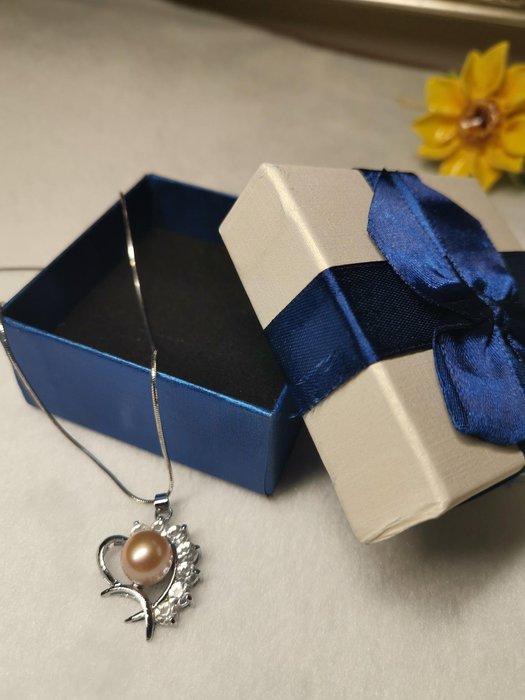 浪漫情人節我愛你心型珍珠項鍊 含鏈及包裝禮盒
