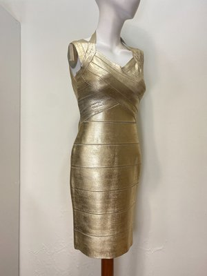 HERVE LEGER 專櫃 金色 繞頸 繃帶 禮服 洋裝