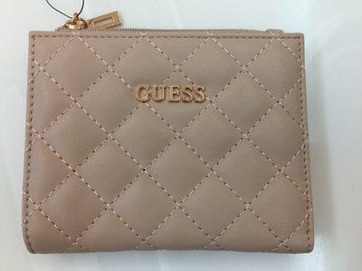 【全新真品】Guess 皮夾  可裝證件、信用卡  有拉鍊可裝零錢  女款  香檳粉