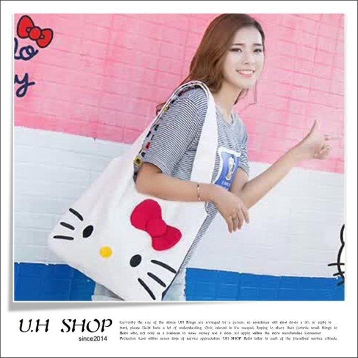 【 U.H SHOP】HELLO KITTY 凱蒂貓 2017秋季簡約時尚立體蝴蝶結帆布包