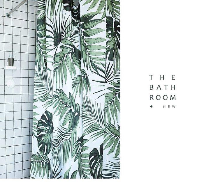 北歐浴室專用 綠色植物系浴簾 180x200cm 芭蕉葉 清新細葉 防水 防霉 洗手間分隔 淋浴簾 簡約 綠化大自然