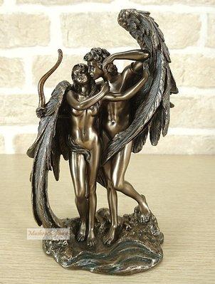 點點蘑菇屋 歐洲精品愛神丘比特與賽姬仿銅擺飾 Cupid and Psyche 邱比特 希臘神話雕像 免運費 現貨