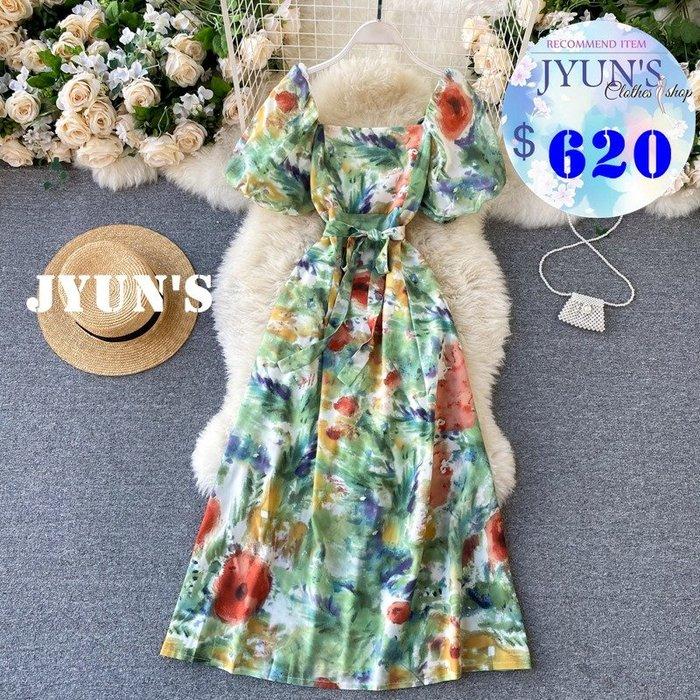 JYUN'S 新款法式優雅氣質復古方領紮染印花泡泡袖收腰綁帶顯瘦長款連衣裙短袖洋裝連身裙 1色 預購