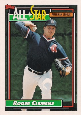 1992 Topps Roger Clemens #405 all star pitcher Red Sox