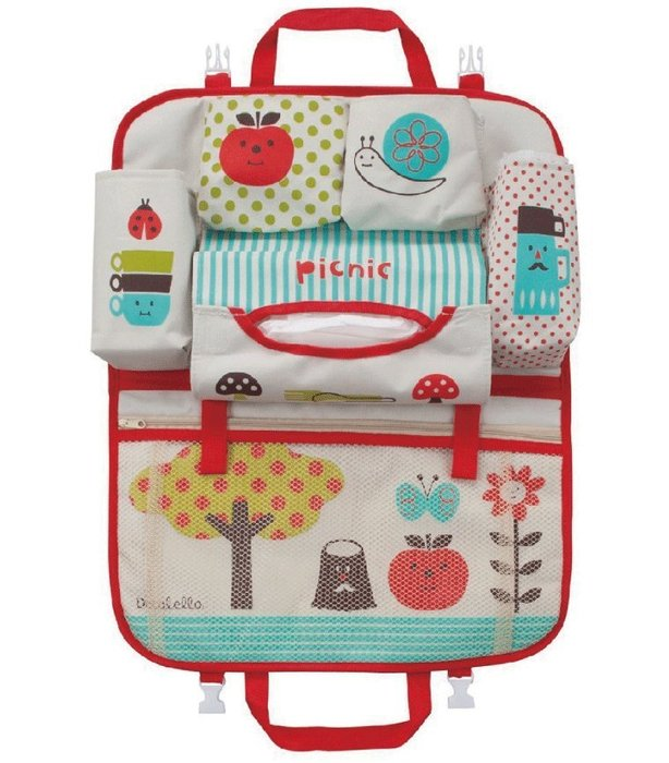 【三元】日本Decole 車用掛袋+面紙收納袋 車用多層置物袋 可愛收納袋~蘋果野餐