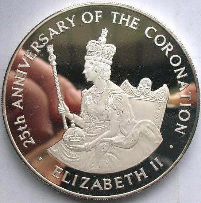【鑒 寶】(世界各國錢幣)牙買加1978年紀念女王加冕25周年25元4.04盎司精製大銀幣 WGQ4808