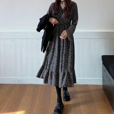 Maisobo 韓 秋冬小眾設計感氣質荷葉邊碎花長袖洋裝 Ru-490 預購