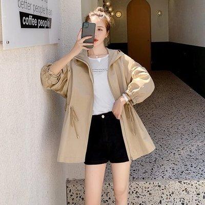 風衣 大衣 短版夾克-連帽抽繩收腰寬鬆女外套73yt41[獨家進口][米蘭精品]