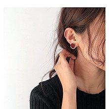 【hi_sweet_sour】復古酒紅穿耳耳環 金色