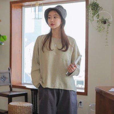 bibi_korea 正韓   落肩簡約口袋棉麻上衣 (3色)【 BH7347 】