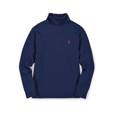 全新美國 Polo Ralph Lauren 藍色繡馬高領純棉T恤 大童M