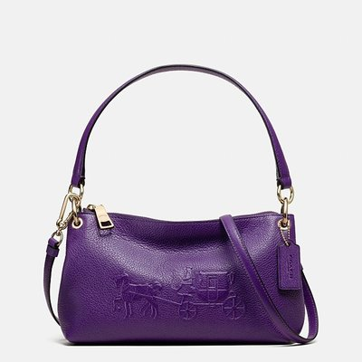 Coco小舖 COACH 33521 EMBOSSED HORSE AND CARRIAGE CHARLEY 紫色
