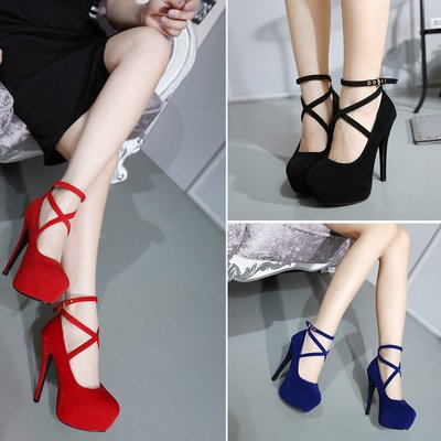 Ladies Fashion Sexy Evening high heels Shoes black/red Party