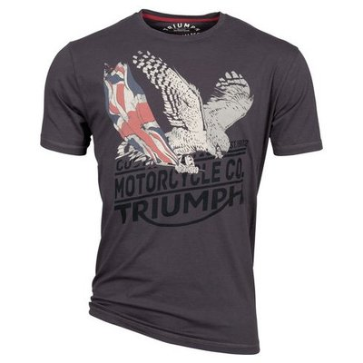 【德國Louis】Triumph短袖圓領T恤 正版凱旋英國旗老鷹圖案T-SHIRT摩托車重機騎士短T棕色上衣218307