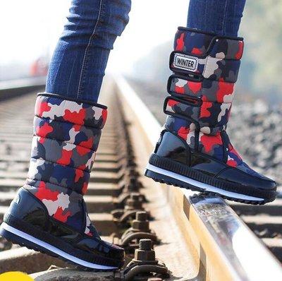 雪靴 旅行雪地靴 女高筒加厚保暖大棉鞋男防水戶外靴子冬防滑雪地鞋 親子鞋 情侶鞋—莎芭