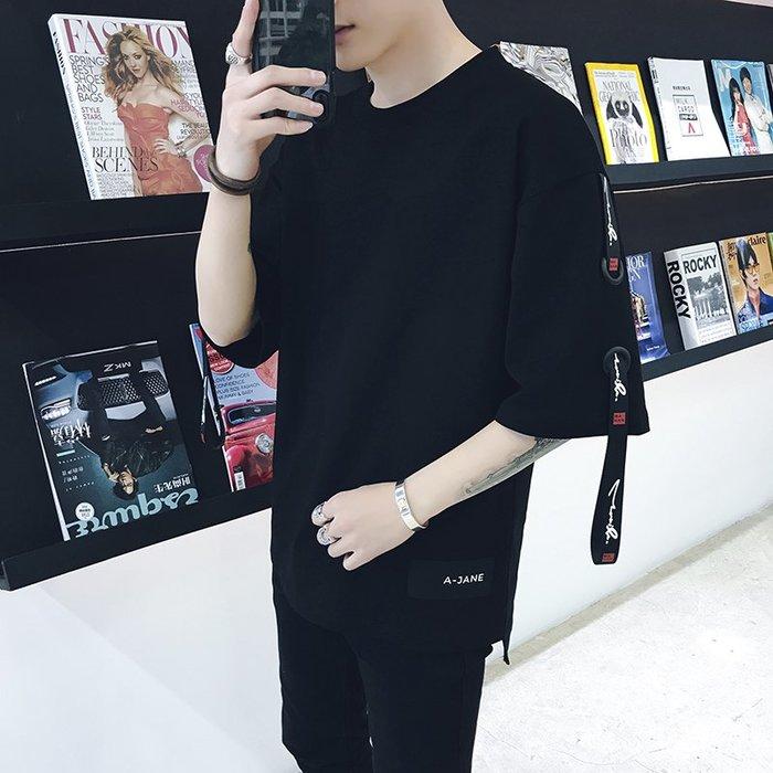 短袖男夏季新款男裝t恤韓版潮流寬松短袖學生圓領bf風半袖個性五分袖男