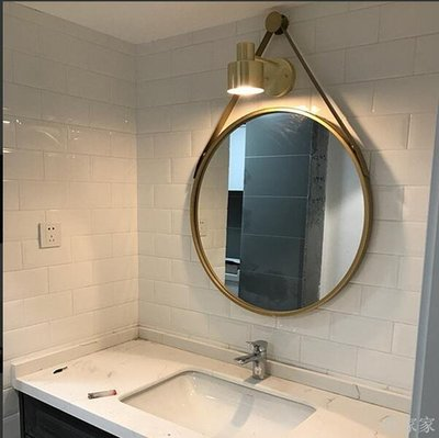 居家家 北歐浴室鏡子衛生間壁掛圓鏡洗手間化妝鏡試衣鏡臥室梳妝臺圓形鏡