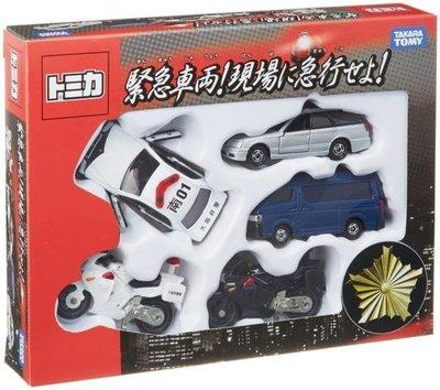 變形金剛~日本 TOMICA 限定版 緊急車輛 現場急行 機車 警車 車組