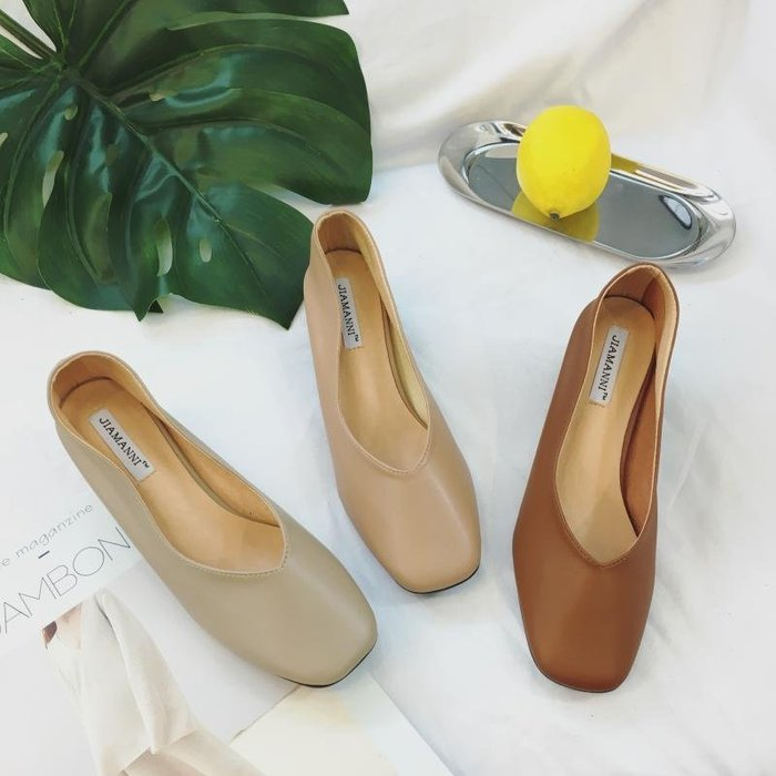 粗跟單鞋女秋瑪麗珍方頭新款韓版奶奶鞋女中跟工作裸色高跟鞋
