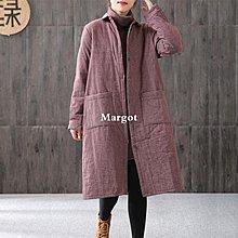 [Margot]2018冬季新品文藝范小格子加厚夾棉外套女中長款寬松大碼保暖棉衣