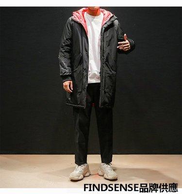 FINDSENSE品牌 秋冬季 新款 日本 男 個性 高品質 輕薄 拼色羽絨服 連帽 中長款 保暖羽絨外套 潮流上衣外套
