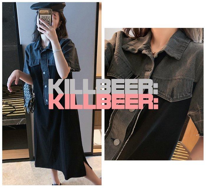 KillBeer:貪心女孩的新風格之 歐美復古搖滾簡約設計感灰黑水洗丹寧牛仔拼接polo領傘擺連身裙洋裝010418