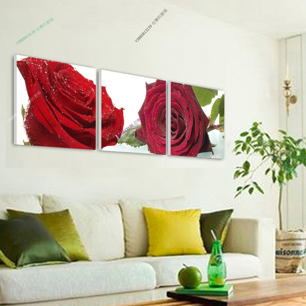 【60*60cm】【厚0.9cm】耀眼玫瑰-無框畫裝飾畫版畫客廳簡約家居餐廳臥室牆壁【280101_076】(1套價格)