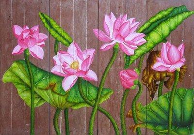 【ZEN CASA】工筆花卉裝飾畫*粉色荷花蓮花*民宿裝飾品掛畫四片一組