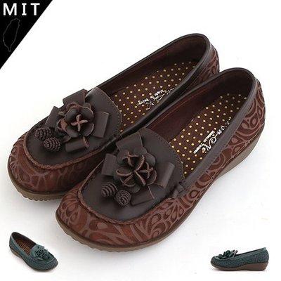 娃娃鞋 寬楦質感立體花裝飾雕花手工真皮寬頭娃娃鞋 休閒厚底鞋 MIT製造