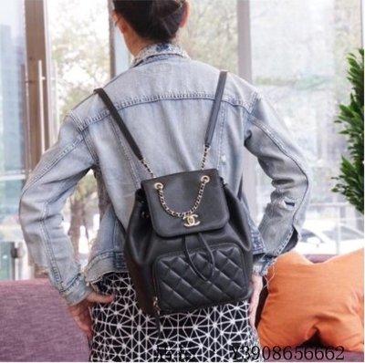 甜甜二手精品 Chanel 香奈兒 A93748 Backpack 荔枝紋後背包 黑金鍊
