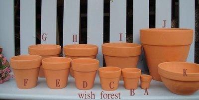 WISH FOREST【素燒紅陶。標準小圓盆。A款 】~尺寸多樣~~透氣佳~質樸~~標準國際盆~~