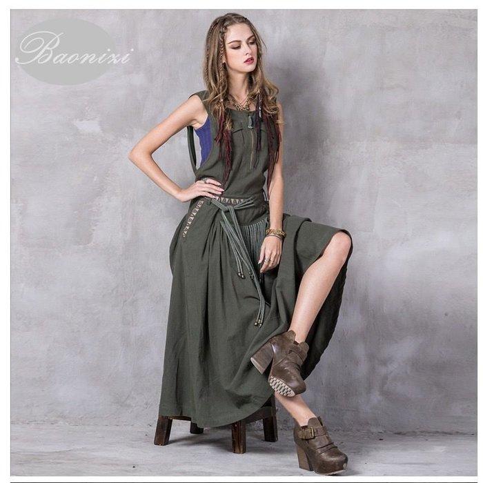 《現貨免運》 墨綠色復古工字背心 收腰顯瘦大擺連衣裙 墨綠色/藍色兩款 洋裝 A8205 Baonizi 寶妮子