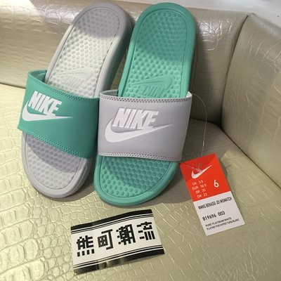 台灣公司貨 Nike Wmns Benassi Jdi Mismatch 蒂芬妮綠 灰 女 拖鞋 819696-003