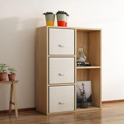 『i-Home』簡約現代兒童玩具收納櫃儲物櫃木質櫃子家用書架置物架帶抽格子櫃