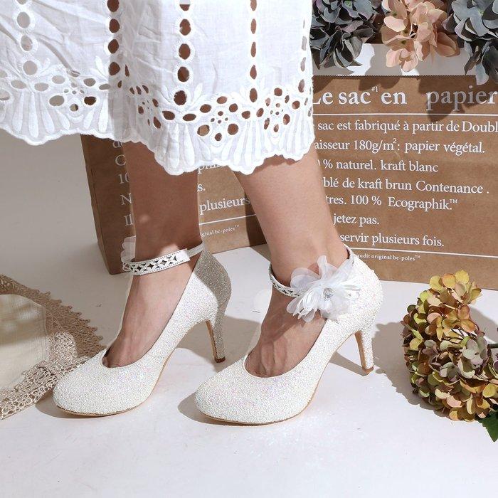 婚鞋 高跟鞋 灰姑娘的夢 3種穿法 可拆腳背帶 9cm跟高 細緻碎石亮片 新娘鞋 伴娘鞋 MIT台灣手工鞋 丹妮鞋屋