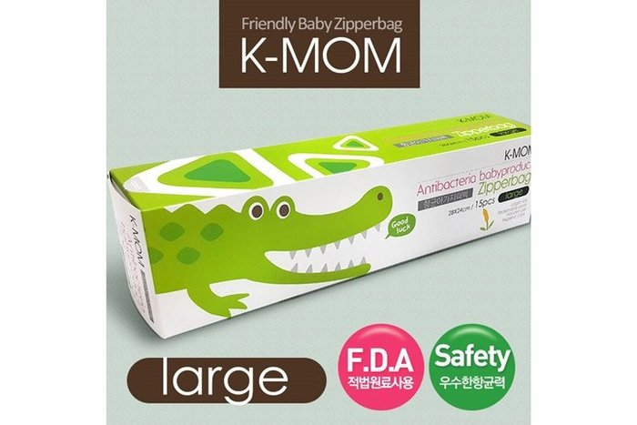 NETSHOP 韓國K-MOM 動物家族抗菌儲存袋 夾鏈袋 鱷魚喬治(L) 徹底隔絕細菌 美國FDA合格原料