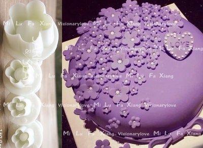 麋路花巷~4PCS小花朵彈簧餅乾模翻糖蛋糕模具巧克力模黏土模果凍模麵包花模母乳皂模