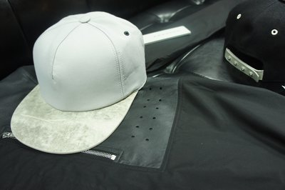 現貨5折出清RICK OWENS DRKSHDW FW1415 MOODY灰珍珠皮革Brim帽