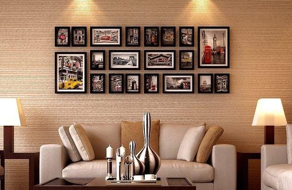 225 華城小鋪 工廠直銷 送德國藍丁膠+原版照片~實木大型20框 壁貼 油畫 民宿 相片牆 相框牆