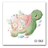 【萌古屋】花朵烏龜單圖CC-063 - 防水紋身貼紙刺青貼紙K37