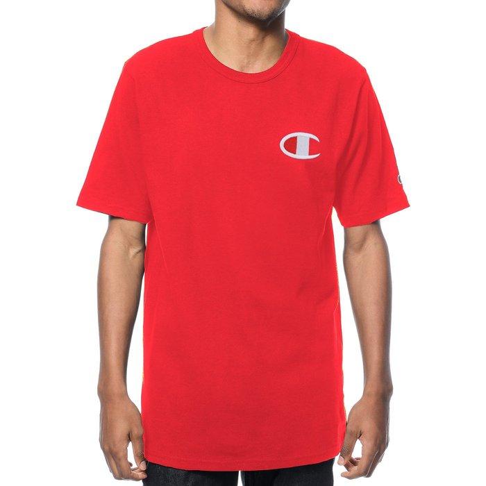 美國百分百【Champion】冠軍 T恤 短袖 T-shirt 電繡 大logo 素T 高磅數 潮牌 紅色 H256