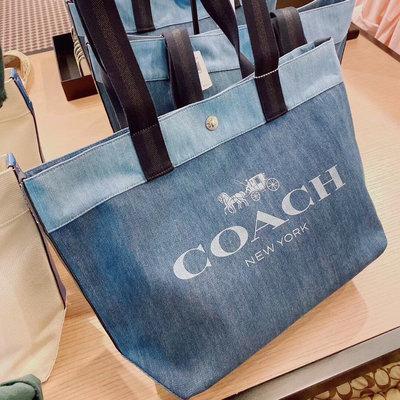 【COACH代購館】美國正品COACH 91131 CANVAS系列托特包 牛仔丹寧布女包購物袋 挑戰戰網絡最低價可批發