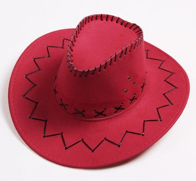 【二鹿帽飾】仿麂皮 皮繩滾邊 舞台表演 牛仔帽/ 西部牛仔帽/ 狩獵帽/表演帽/國小以上表演專用帽-大紅色