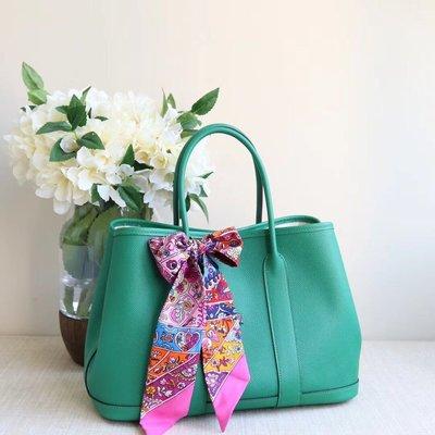 VIP訂製 HERMES  Garden Party 30cm U4 絲絨綠 epsom 皮 手挽袋