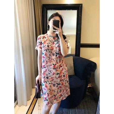 《巴黎拜金女》中式立領斜盤短袖旗袍式3D印花真絲連衣裙