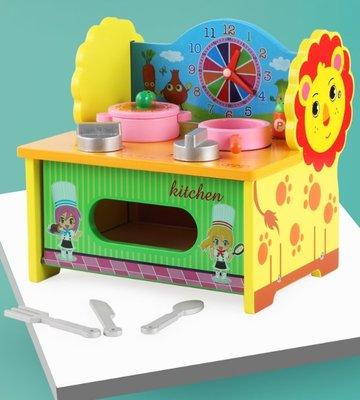 【晴晴百寶盒】木製簡易小廚房 寶寶过家家玩具 角色扮演 積木 秩序智力提升 練習 禮物 平價促銷 P084