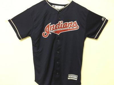 MLB 美國職棒大聯盟 克里夫蘭印地安人隊 藍色 棒球衣 青年版 Majestic Cleveland Indians