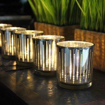 熱銷#簡約電鍍圓點直杯玻璃燭臺蠟燭杯酒吧西餐廳浪漫表白燭光晚餐#燭臺#裝飾