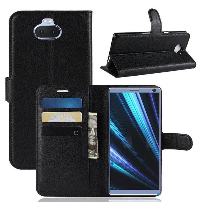 索尼 xperia 10 plus 手機殼 荔枝紋 翻蓋皮套 插卡零錢包 支架功能 防摔抗震 保護套