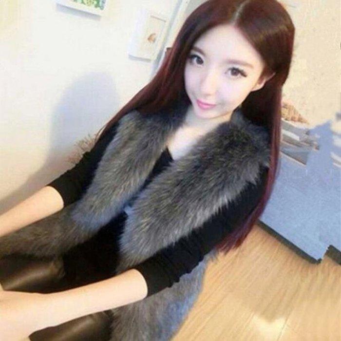 仿狐貍毛皮草馬甲女中長款修身百搭韓版水貂毛皮外套加厚背心
